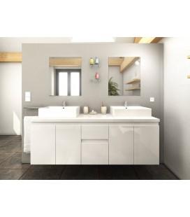 Meuble de salle de bain blanc 4 portes 2 tiroirs 2 vasques 2 miroirs Cologne