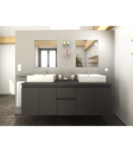 Meuble de salle de bain gris mat 4 portes 2 tiroirs 2 vasques 2 miroirs Cologne