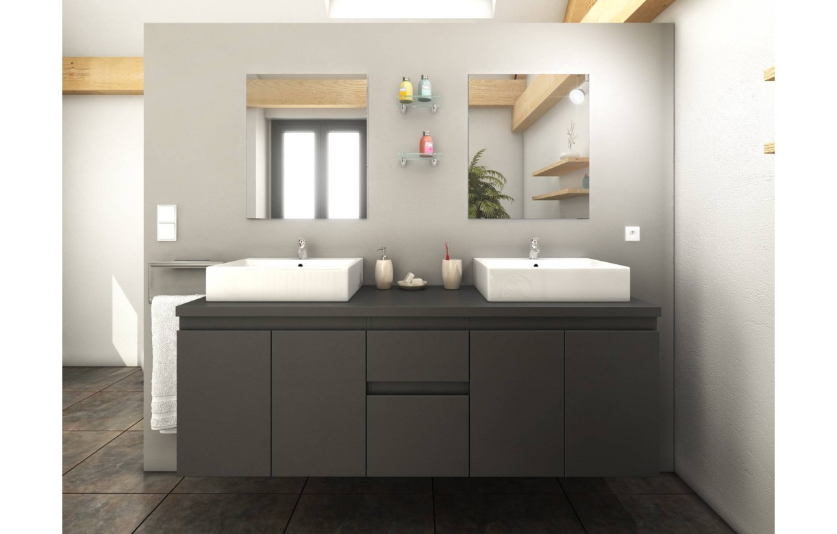 meuble salle de bain gris mat 4 portes 2 tiroirs 2 vasques. Black Bedroom Furniture Sets. Home Design Ideas