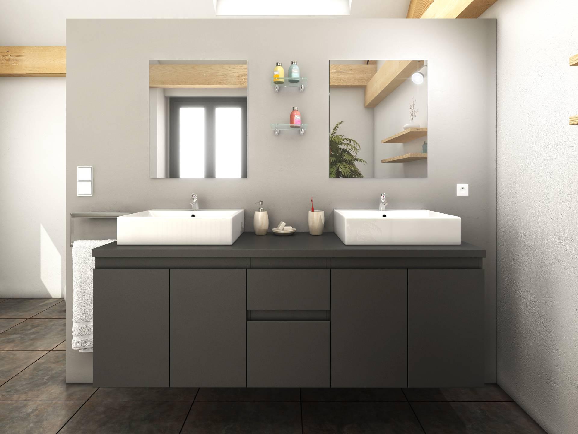 meuble de salle de bain gris mat 4 portes 2 tiroirs 2 vasques 2 miroirs cologne Résultat Supérieur 13 Impressionnant Meuble Salle De Bain 2 Vasques Image 2017 Sjd8