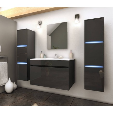 ensemble de salle de bain mural gris 1 meuble avec vasque 2 colonnes. Black Bedroom Furniture Sets. Home Design Ideas