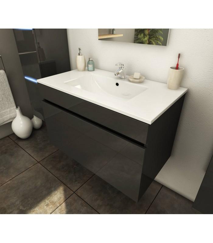 Ensemble de salle de bain mural gris 1 meuble avec vasque + 2 colonnes Lecce