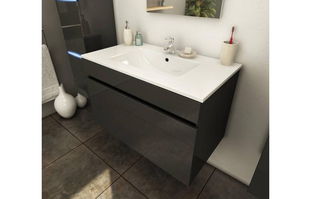 Ensemble de salle de bain mural gris 1 meuble avec vasque Ensemble meuble salle de bain 1 vasque
