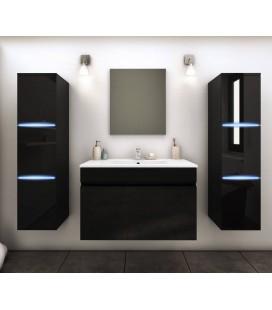 Ensemble de salle de bain mural noir 1 meuble avec vasque + 2 colonnes Lecce