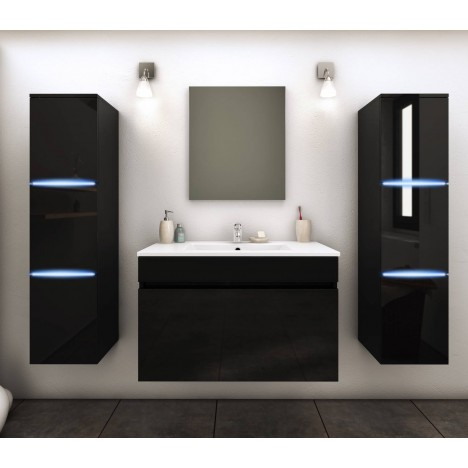 Ensemble de salle de bain mural noir 1 meuble avec vasque + 2 colonnes Lecce -