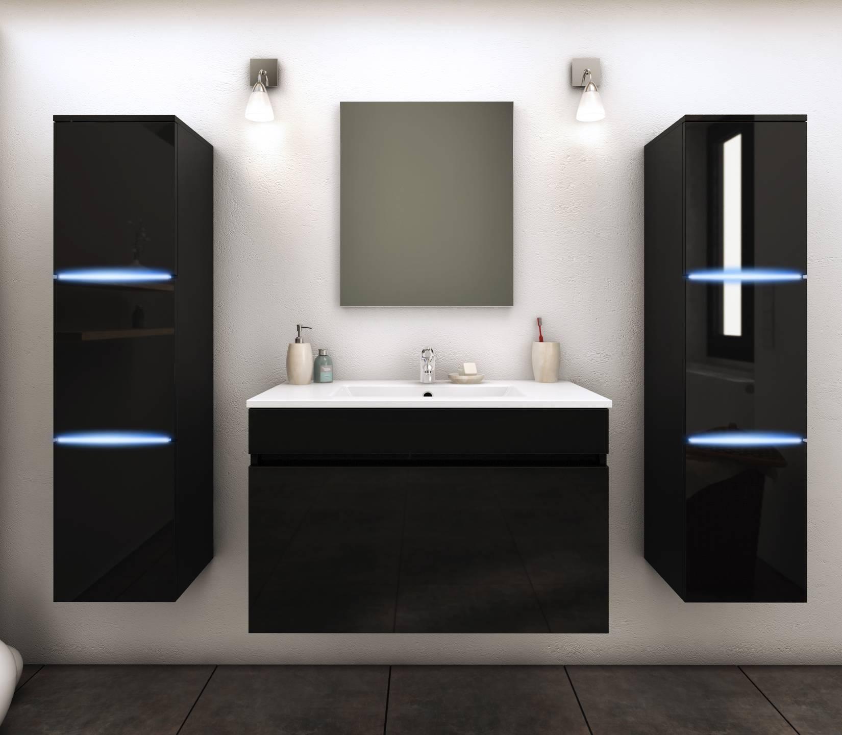 meuble salle de bain complet 2 vasques + 2 miroirs paris