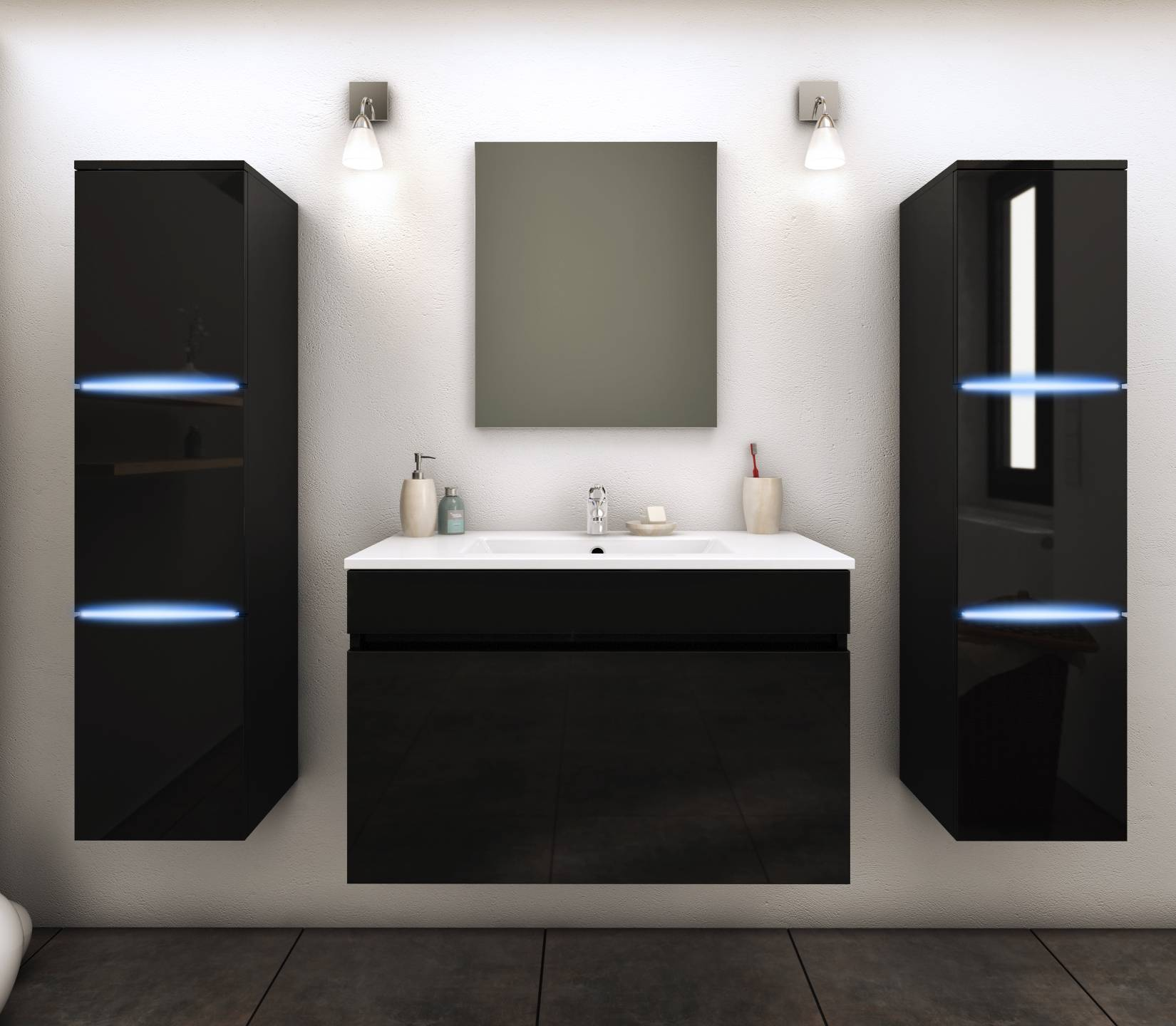 Ensemble de salle de bain mural noir 1 meuble avec vasque + 2 colonnes
