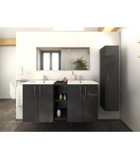 Ensemble de salle de bain gris miroir 1 meuble + 2 vasques + 1 colonne Latina -