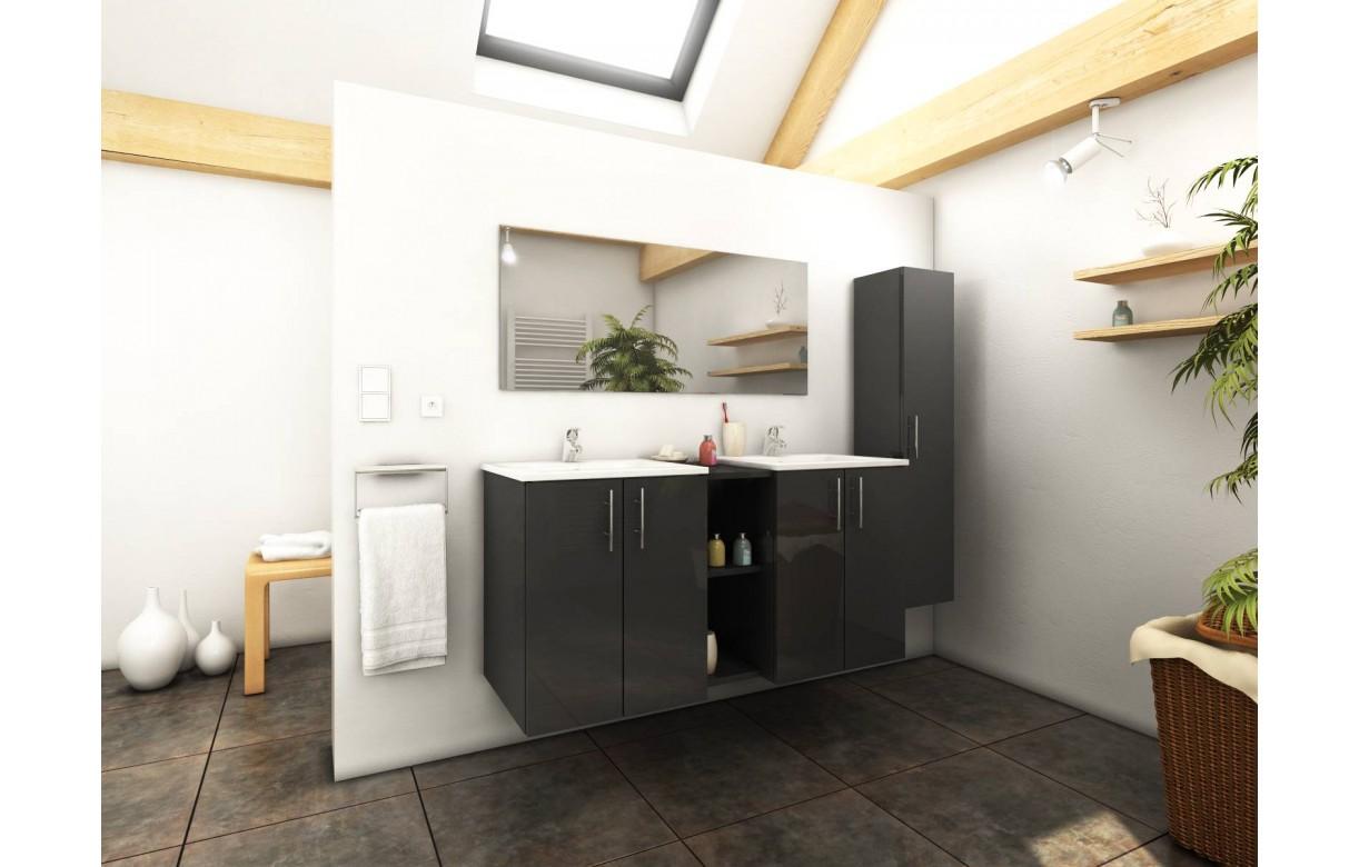 Ensemble de salle de bain gris miroir 1 meuble 2 vasques - Meuble 2 vasques salle de bain ...
