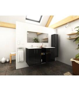 Ensemble de salle de bain noir miroir 1 meuble + 2 vasques + 1 colonne Latina -