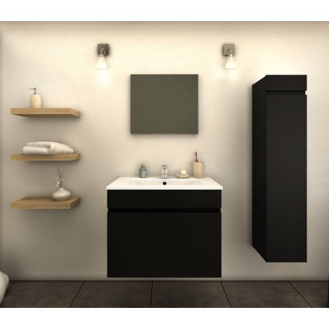 ensemble de salle de bain noir mat 1 meuble avec vasque 1 colonne. Black Bedroom Furniture Sets. Home Design Ideas