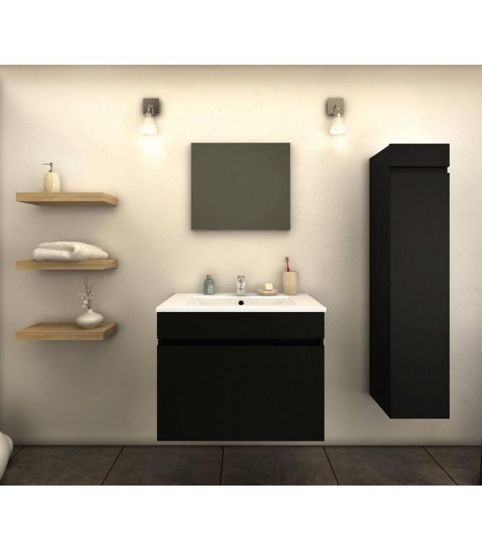 Ensemble de salle de bain noir mat 1 meuble avec vasque for Colonne de salle de bain noir mat