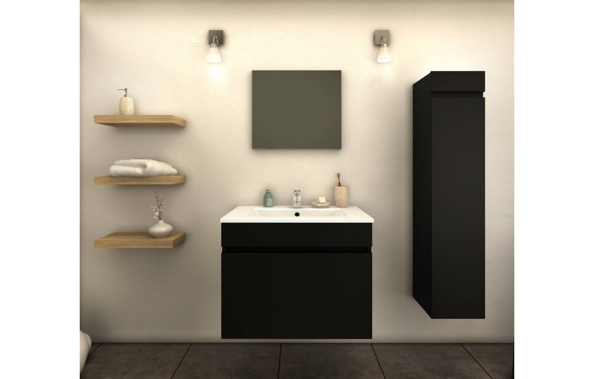 ensemble de salle de bain noir mat 1 meuble avec vasque. Black Bedroom Furniture Sets. Home Design Ideas