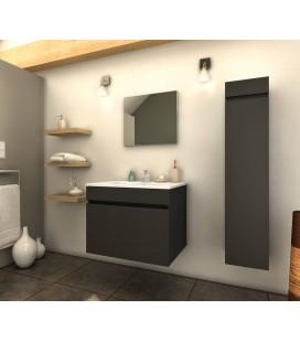 Ensemble de salle de bain gris mat 1 meuble avec vasque + 1 colonne Latina