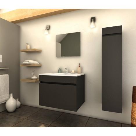 Ensemble de salle de bain gris mat 1 meuble avec vasque + 1 colonne Latina -