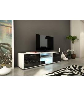 Meuble TV banc design noir et blanc 150cm avec 2 portes et bande led Kiara