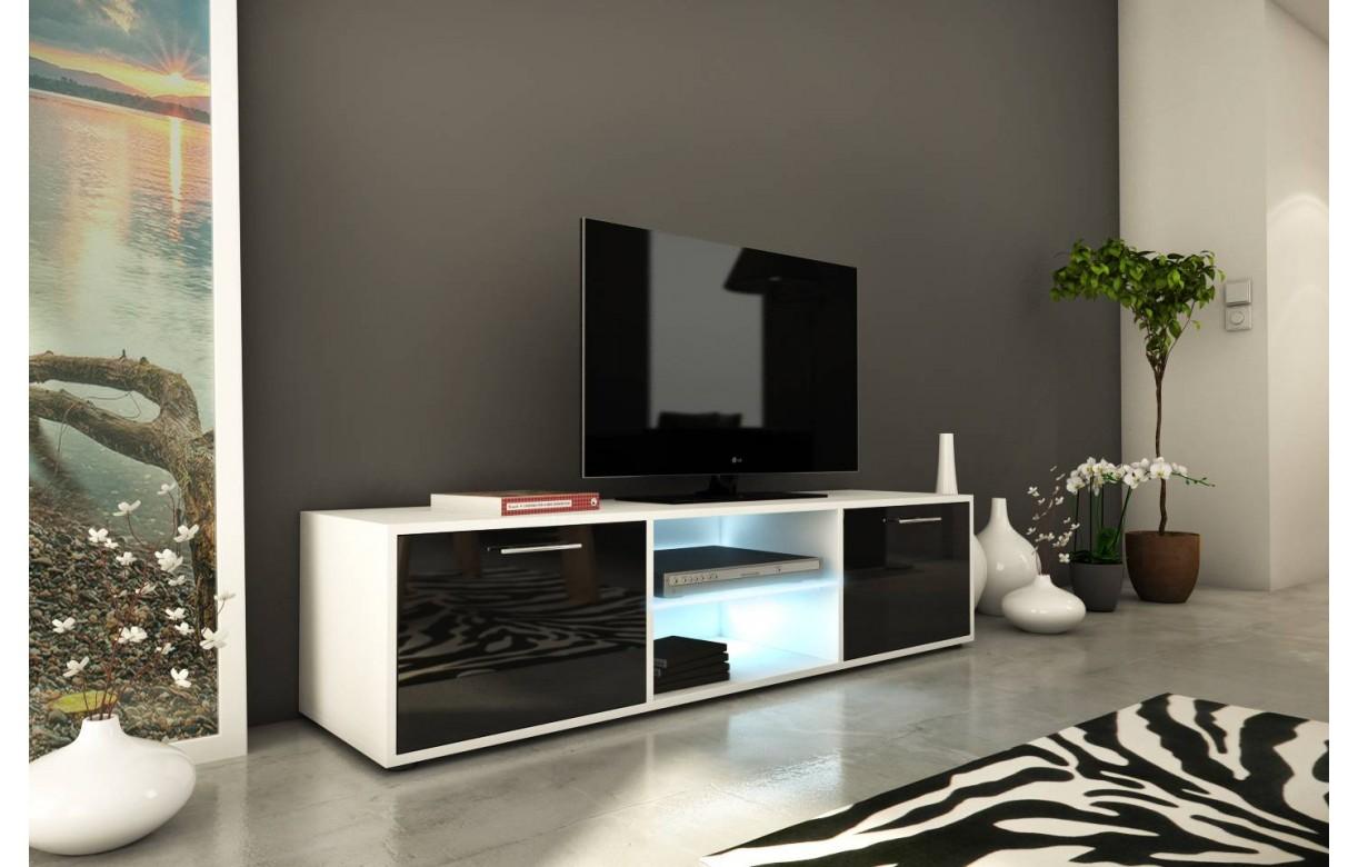 Meuble Tv Banc Design 150cm Noir Brillant 2 Portes Et Bande Led # Meuble Tv Led Noir De Qualite