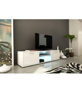 Meuble TV design blanc 150cm avec 1 porte et bande led Kiara