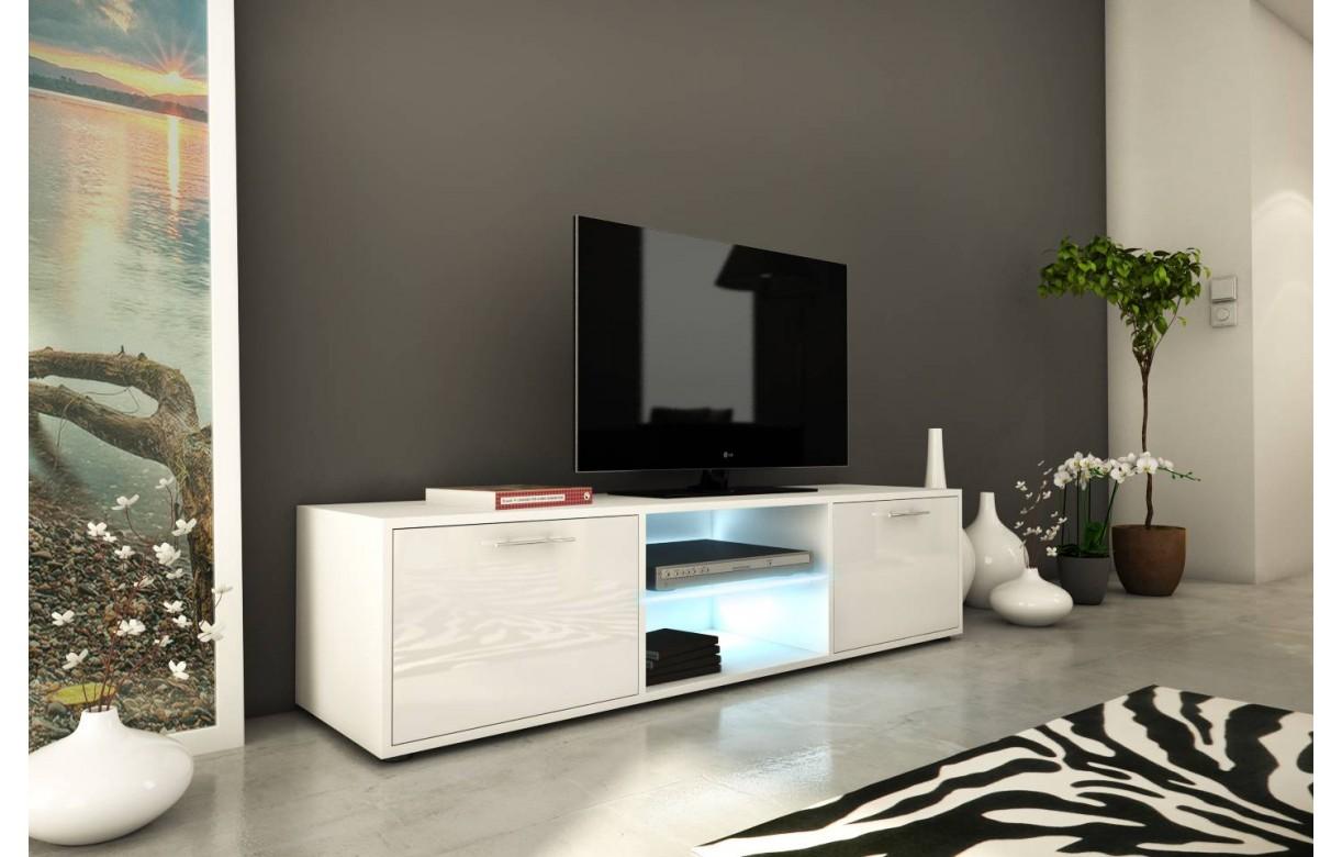 Meuble Banc Tv Design 150cm Blanc Brillant 2 Portes Et Bande Led # Meuble Tv Blanc Brillant