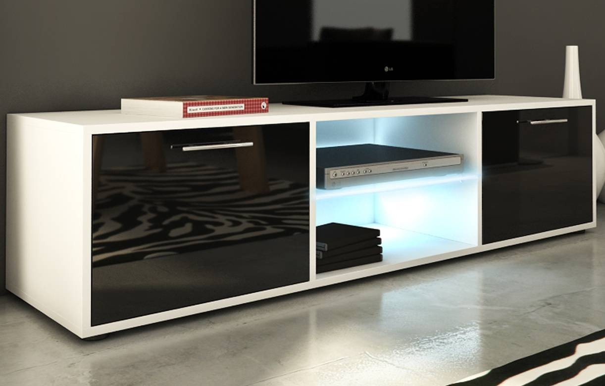 meuble tv banc design 150cm noir brillant 2 portes et bande led. Black Bedroom Furniture Sets. Home Design Ideas