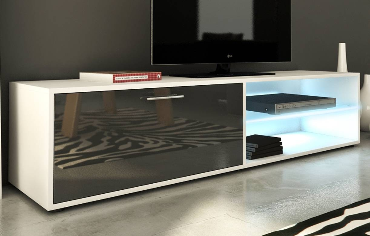 Meuble tv design gris brillant 160cm avec 1 porte et bande led for Meuble tv blanc gris