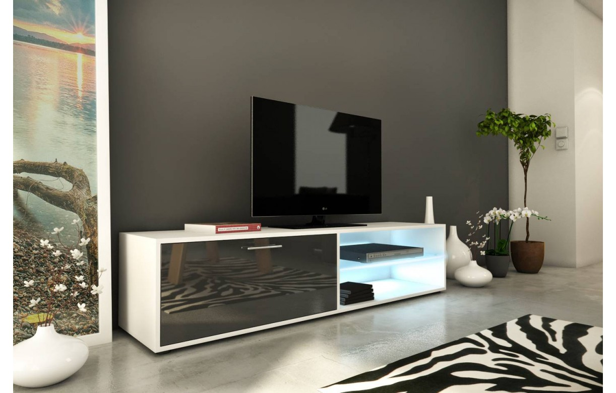 Meuble tv design gris brillant 160cm avec 1 porte et bande led for Meuble chine design
