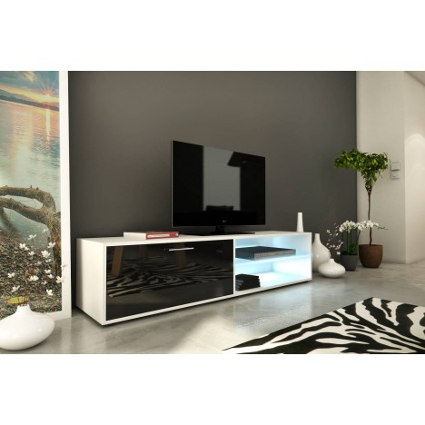 meuble tv design noir 160cm avec 1 porte et bande led. Black Bedroom Furniture Sets. Home Design Ideas