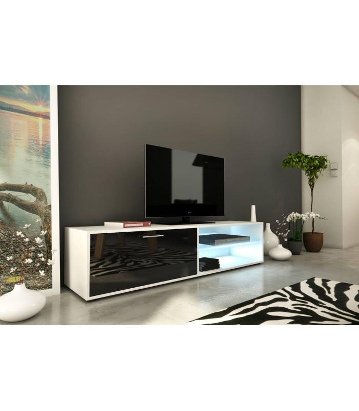 meuble tv design noir 160cm avec 1 porte et bande led kiara Résultat Supérieur 50 Frais Meuble Tv Design Noir Image 2018 Kjs7