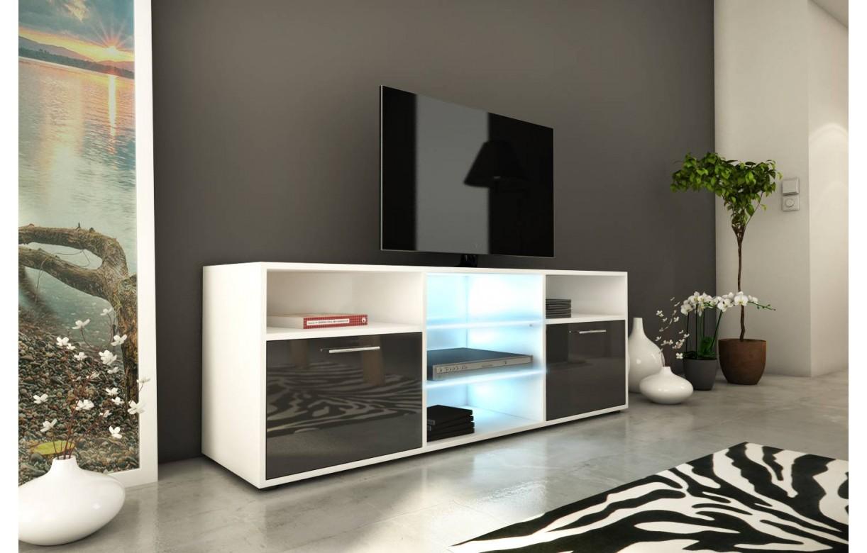 Meuble Tv Design 150cm Avec Niches Et 2 Portes H 53cm # Meuble Tv Avec Led