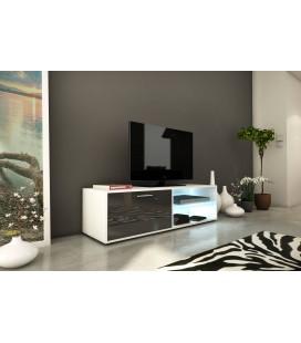 Banc TV meuble design gris brillant 120cm avec 1 porte et bande led Kiara