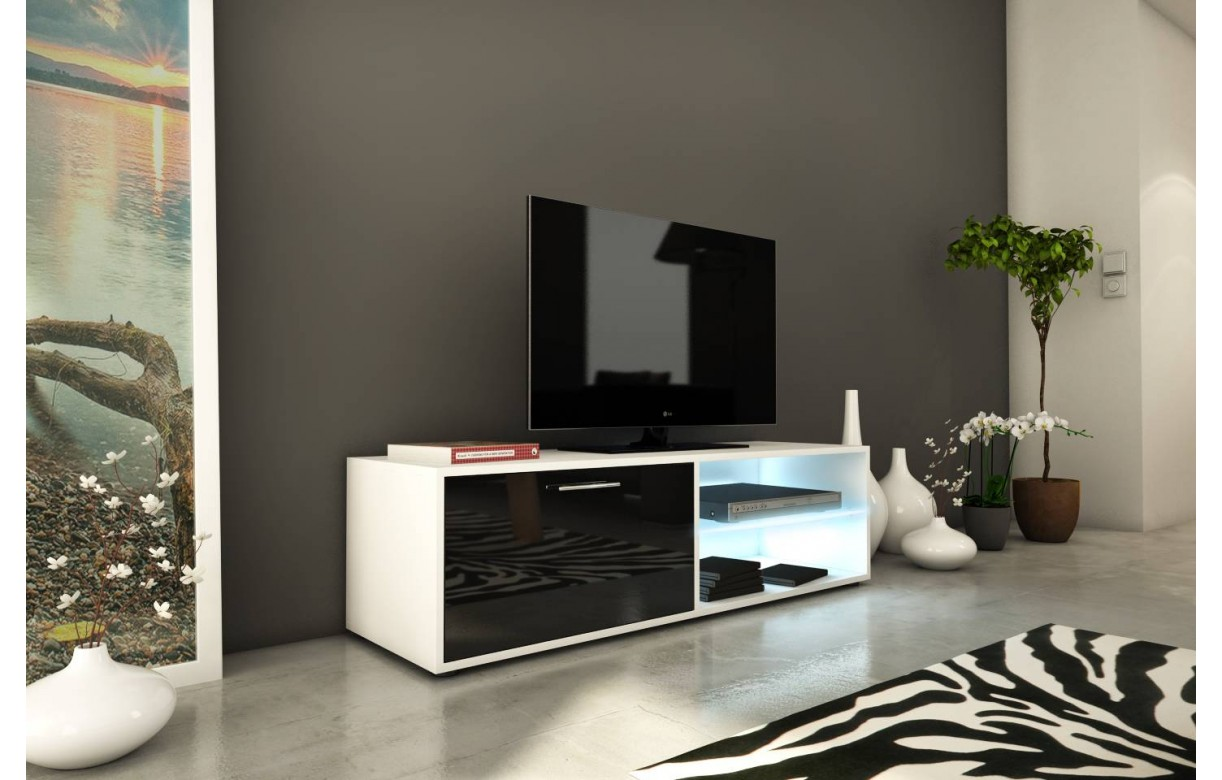 banc tv meuble design noir et blanc 120cm avec 1 porte et bande led. Black Bedroom Furniture Sets. Home Design Ideas