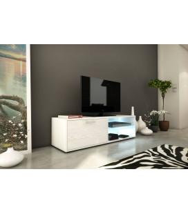 Meuble banc TV blanc 120cm avec 1 porte et bande led Kiara