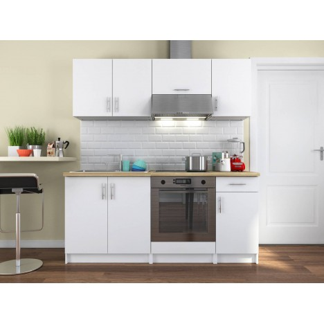 cuisine compl te blanche avec plan de travail bois 180 cm maia. Black Bedroom Furniture Sets. Home Design Ideas