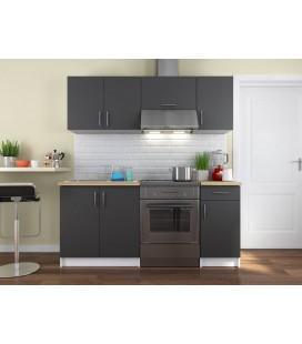 Pack cuisine complète rangements portes et tiroirs gris foncé 180 cm Maria