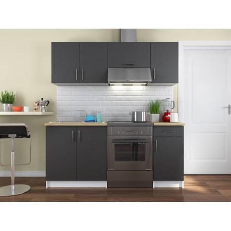 Pack cuisine complète rangements portes et tiroirs gris foncé 180 cm Maria -