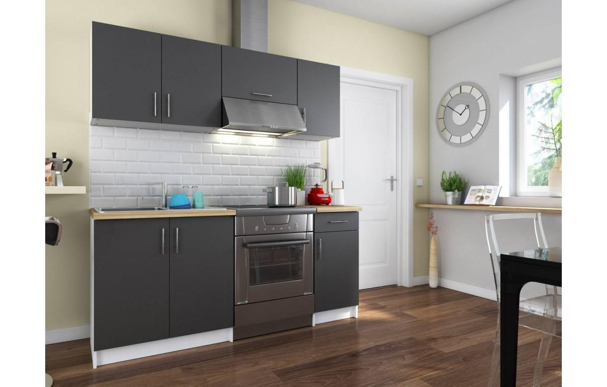 Pack cuisine compl te portes et tiroirs gris fonc 180 cm for Meuble cuisine gris fonce