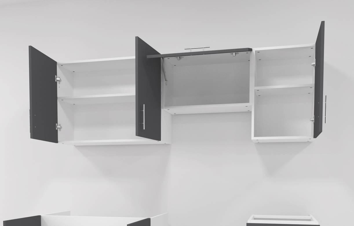 pack cuisine compl te portes et tiroirs gris fonc 180 cm. Black Bedroom Furniture Sets. Home Design Ideas