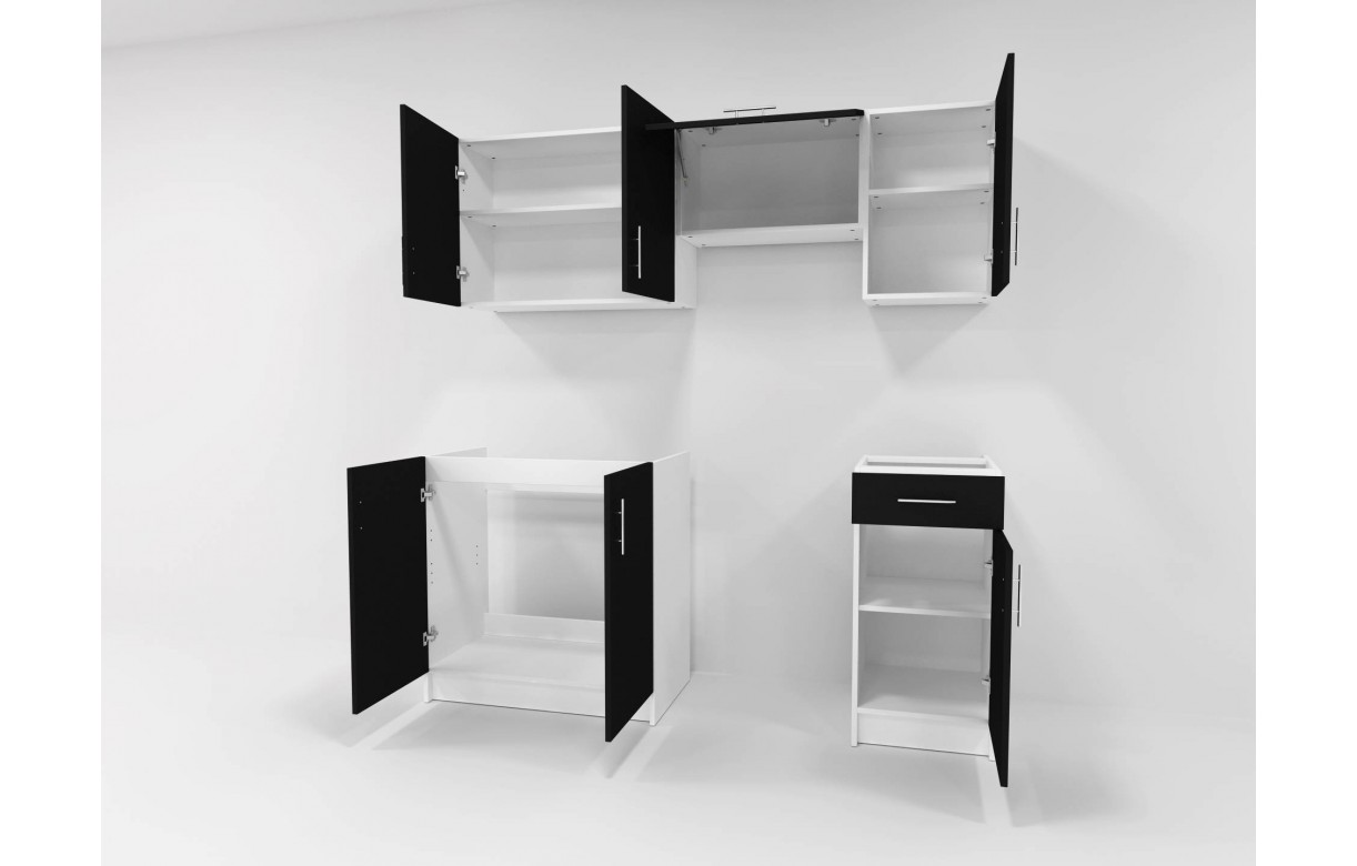 meubles de cuisine noir pour studio 180 cm maria