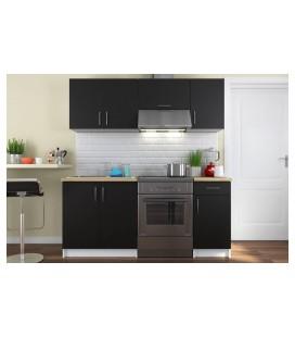 Ensemble meubles de cuisine noir pour studio 180 cm Maria