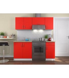 Cuisine complète rouge et blanche 180 cm Maria -