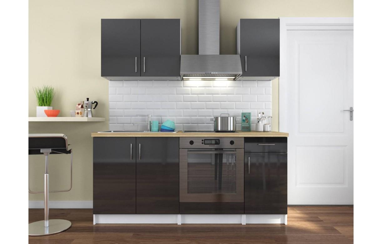 cuisine compl te gris fonc brillant gain de place 180 cm paloma. Black Bedroom Furniture Sets. Home Design Ideas