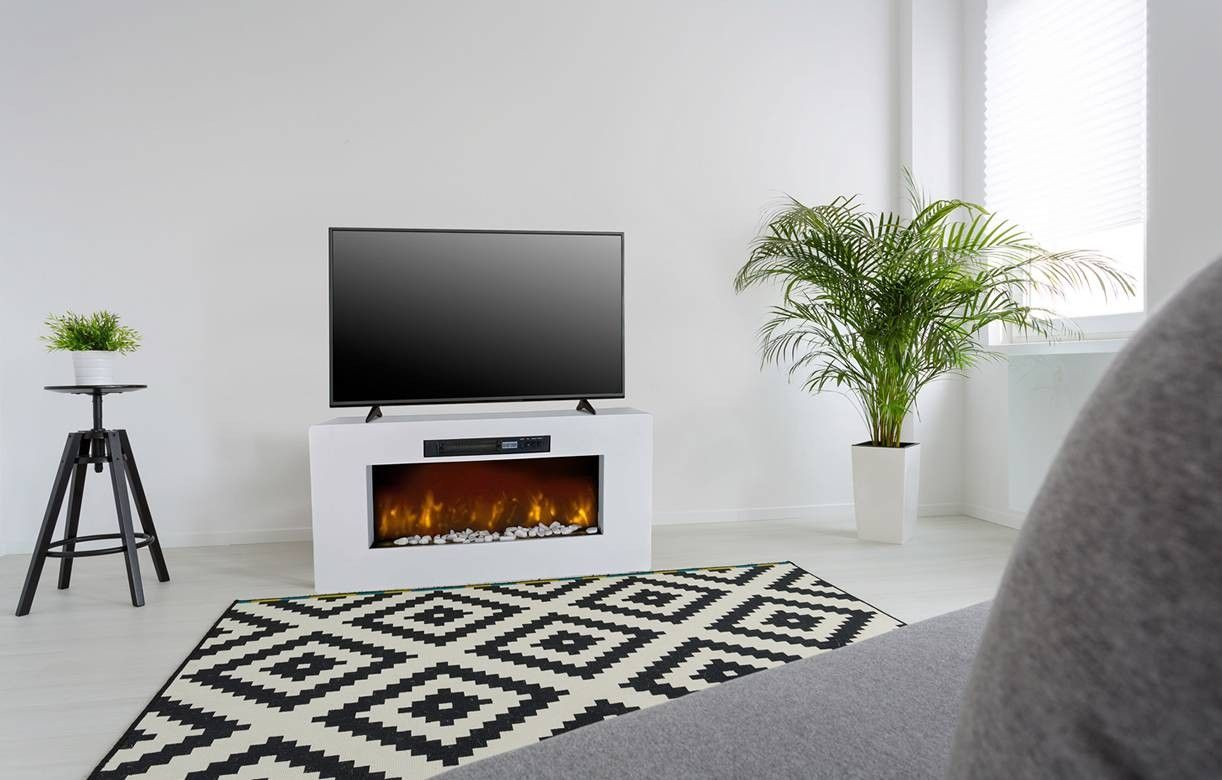 Tv Blanc Chemin E Lectrique 2000w M Ribel # Meuble Tv Integre Cheminee