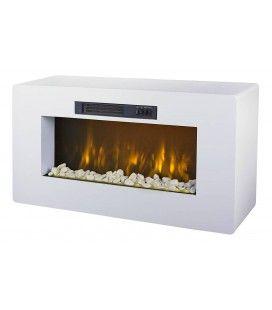 Meuble TV blanc cheminée électrique 2000w Méribel