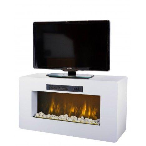 Meuble TV blanc cheminée électrique 2000w Méribel -