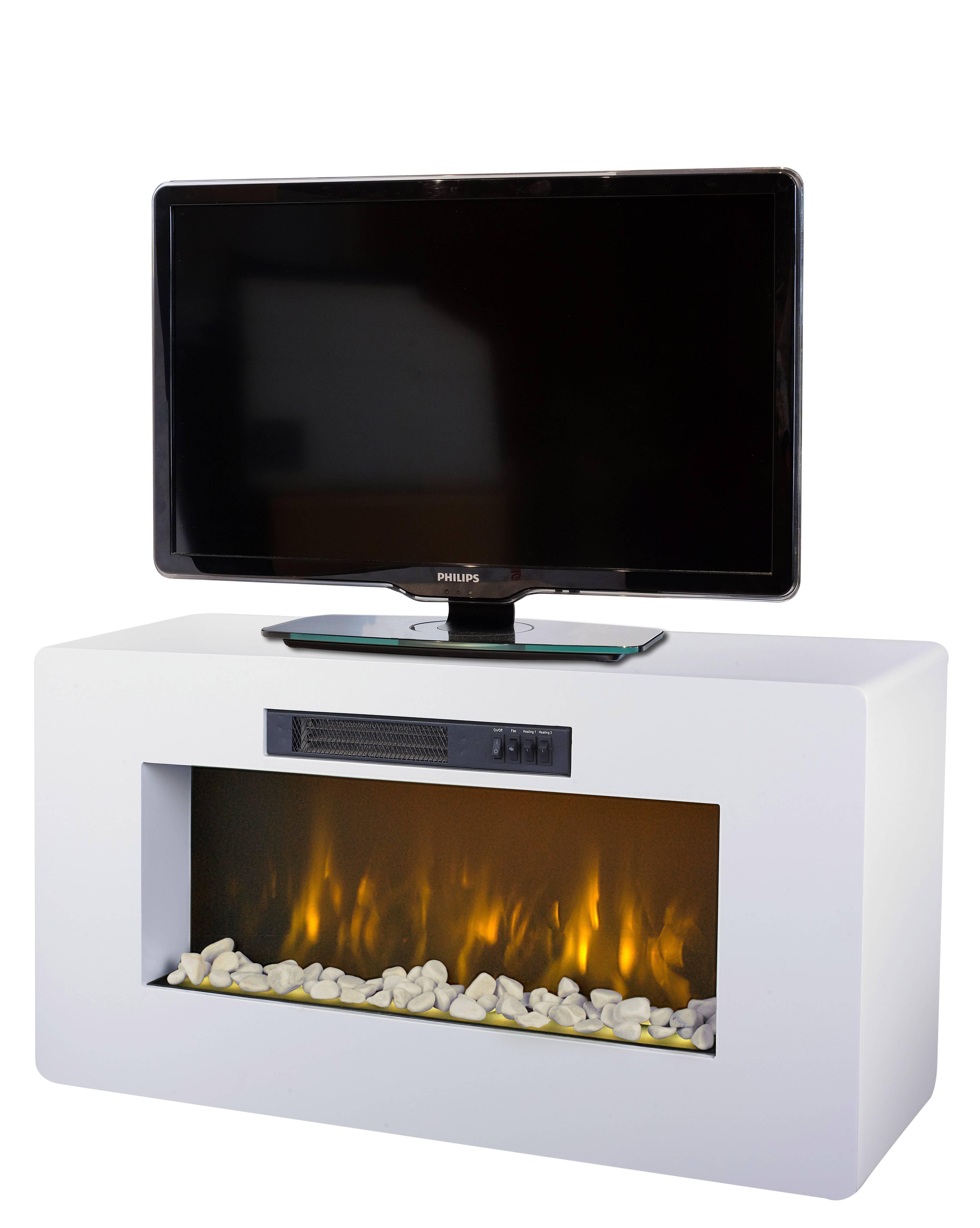Meuble Tv Blanc Cheminee Electrique 2000w Meribel