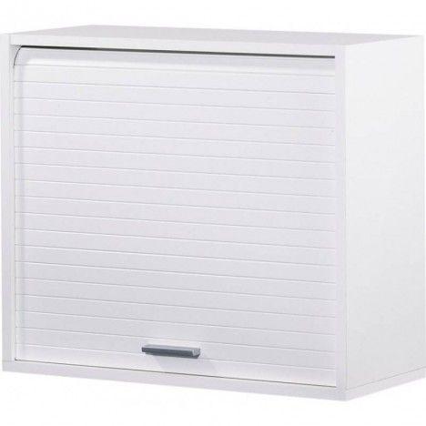 Petit meuble de cuisine blanc avec rideau déroulant 60 cm COOKY -