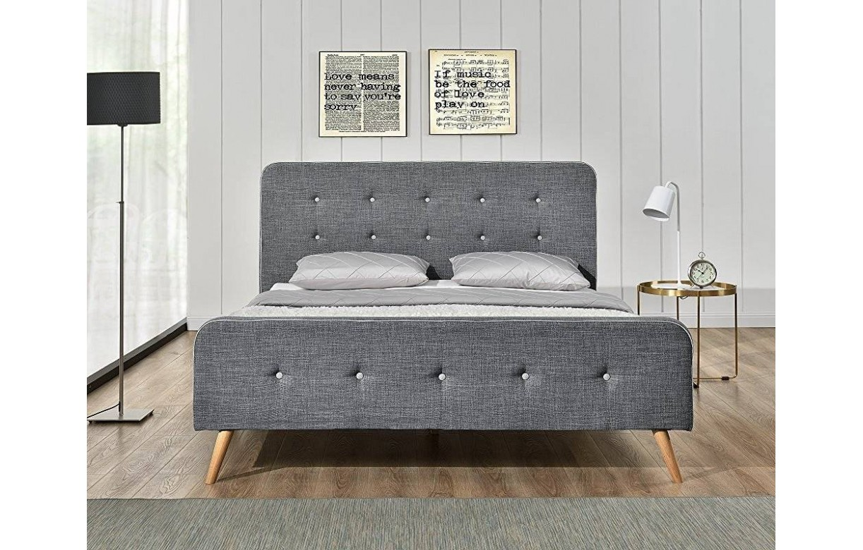 lit tissu lin gris style scandinave avec t te de lit natt. Black Bedroom Furniture Sets. Home Design Ideas