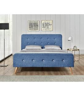 Lit tissu lin bleu style scandinave avec tête de lit Natt