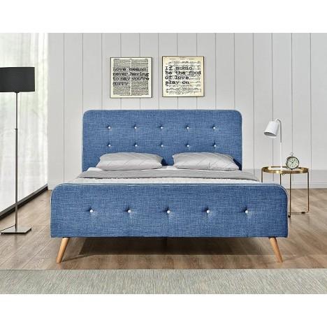 Lit tissu lin bleu style scandinave avec tête de lit Natt -