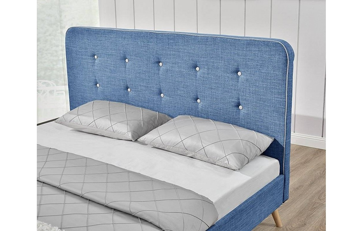 lit tissu lin bleu style scandinave avec t te de lit natt. Black Bedroom Furniture Sets. Home Design Ideas